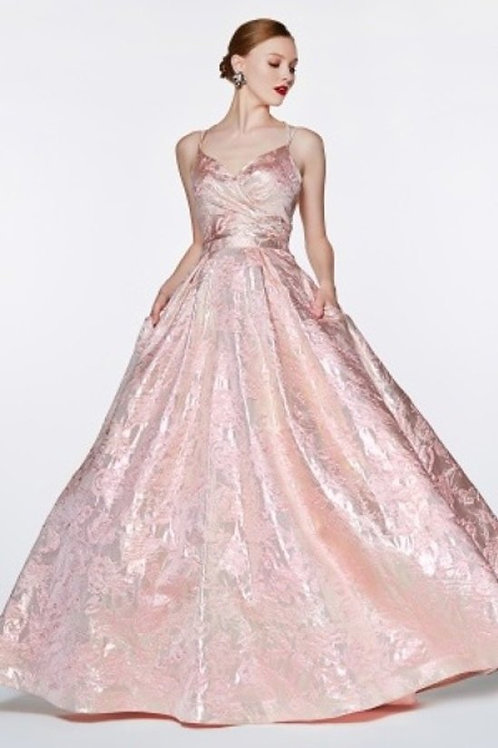 Jacquard Floral Print Sweetheart Ball Prom Dress