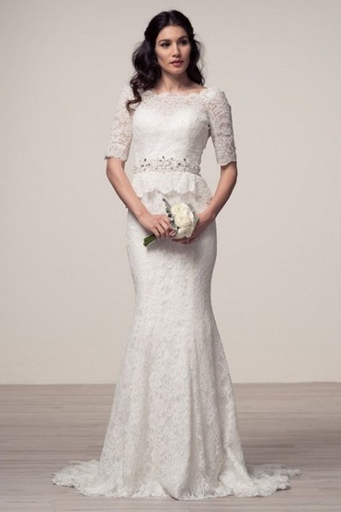 Half Sleeve Lace Peplum Mermaid Wedding Gown