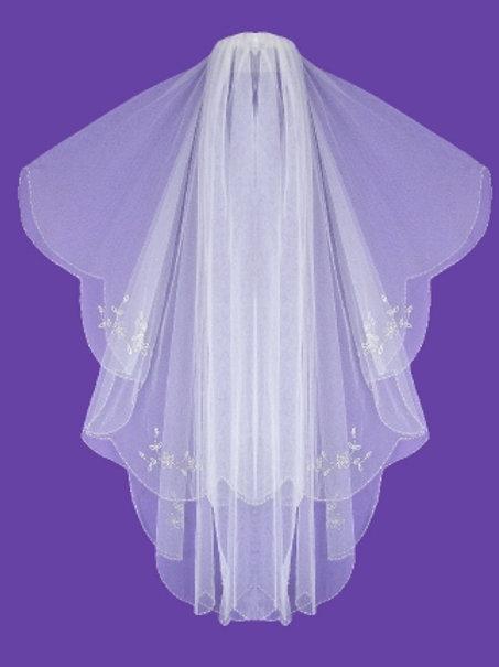 Veil V1042 Embroidery Beaded Edge