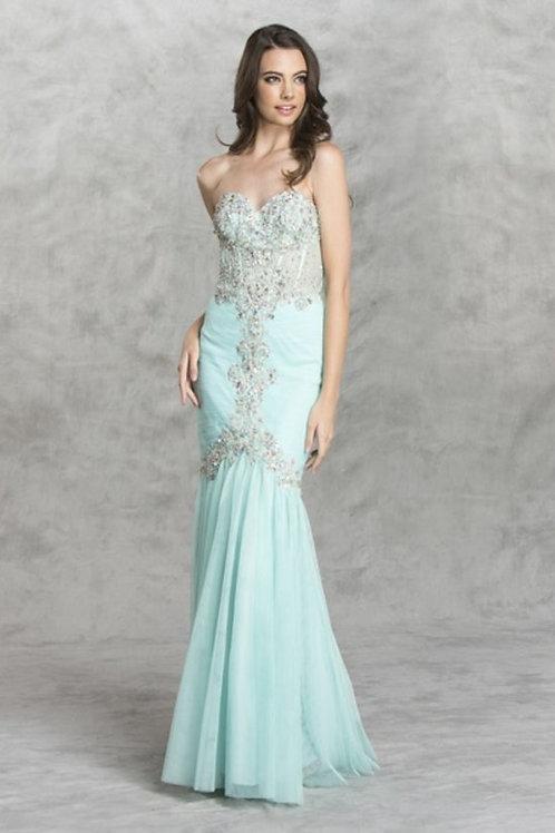 Sweetheart Sheer Rhinestone Floral Lace Mermaid Prom Dress