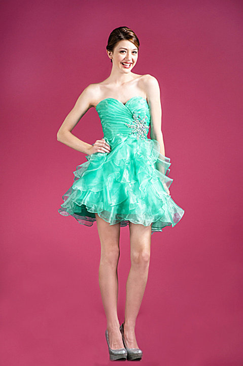Rushed Pleated Sweetheart Organza Ruffle Short Prom Dress