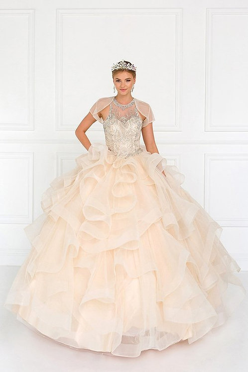 Gorgeous Large Organza Ruffled Crystal Quinceanera Gown