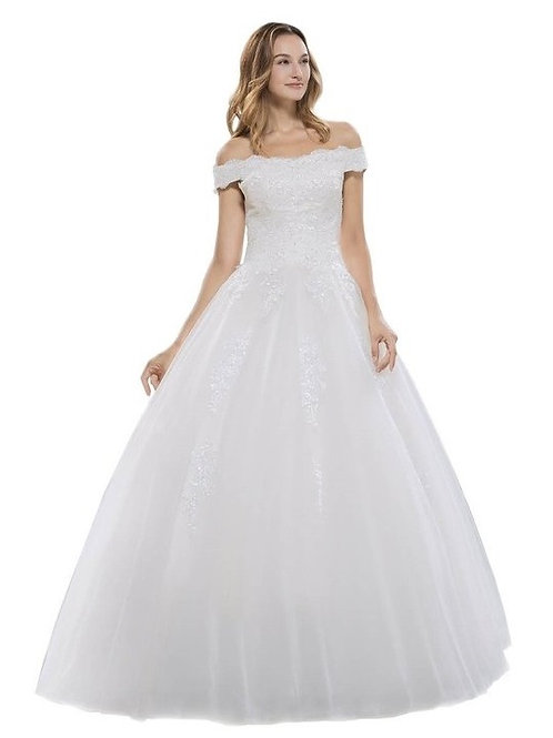 Off the Shoulder Lace Embellished Wedding Ball Gown