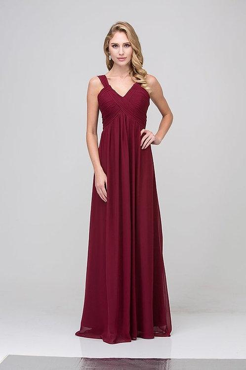 Shoulder Strap V-Neck EmpirevLong Chiffon Bridesmaid Dress