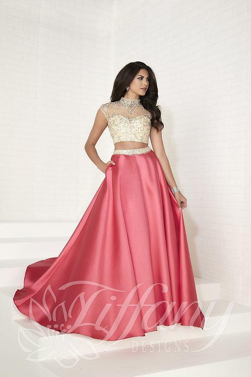 16277 Tiffany - 2 Pieces Crystal Beaded Jewel Neckline A-Line Prom Dress