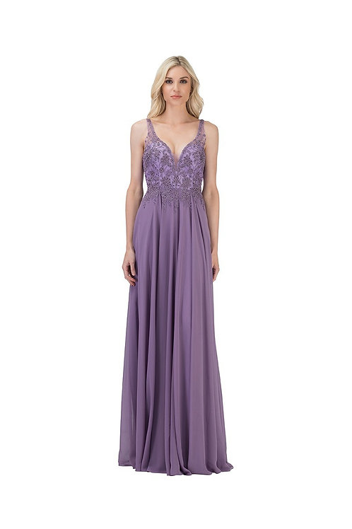 Sleeveless Deep Plunged Neck Lace Mother of the Bride Dress