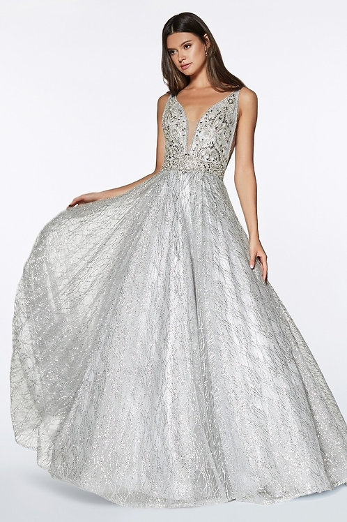 Deep Plunged V-Neck Crystal Beaded Glitter Prom Dress