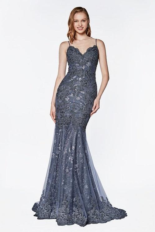 Gorgeous Spaghetti Strap Lace Embellished Mermaid Prom Dress