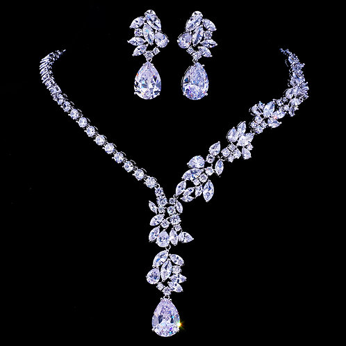 Single String Flower Diamond Cut Bridal Jewelry Set