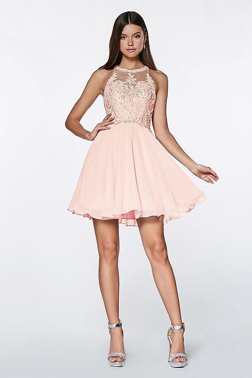 Illusion Lace Embellished Short Prom Dress