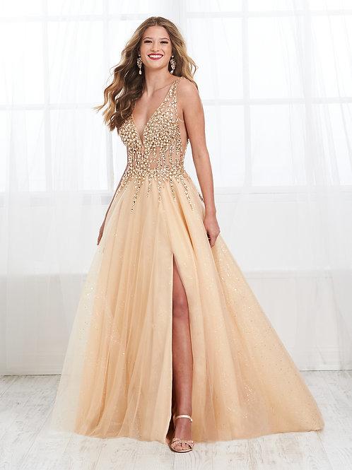 16405 Tiffany Design - Deep V-Neck Side Cut Floral Prom Dress