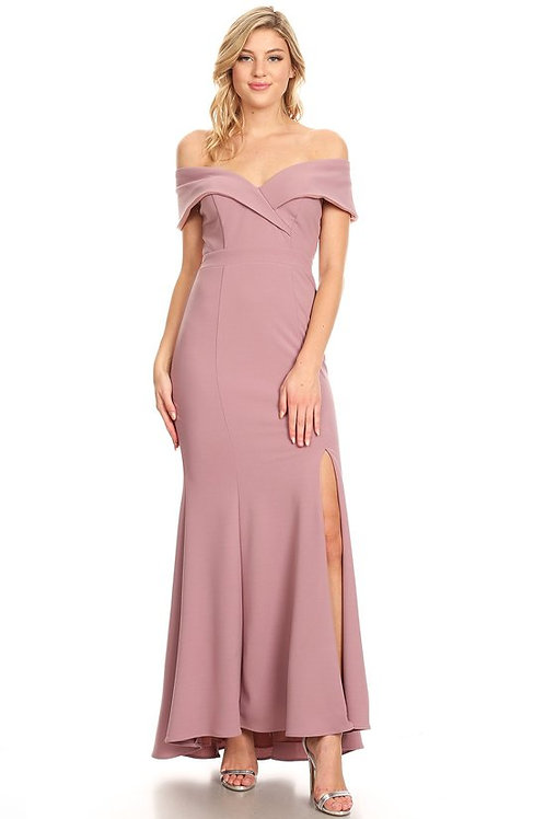 Off the Shoulder Fitted Mermaid Jersey Bridesmaid Dress