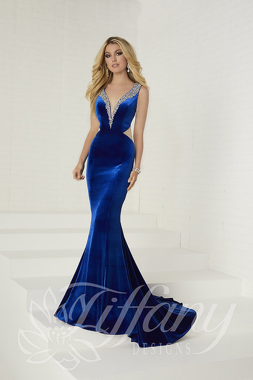 16268 Tiffany - Sexy Side Cut Deep V-Neck Mermaid Prom Dress