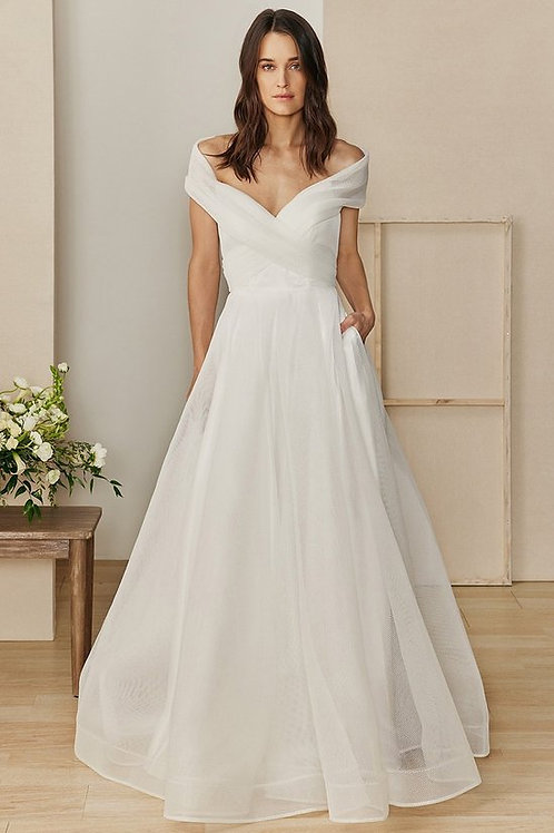 Off the Shoulder Ruched Pleated A-line Wedding Gown