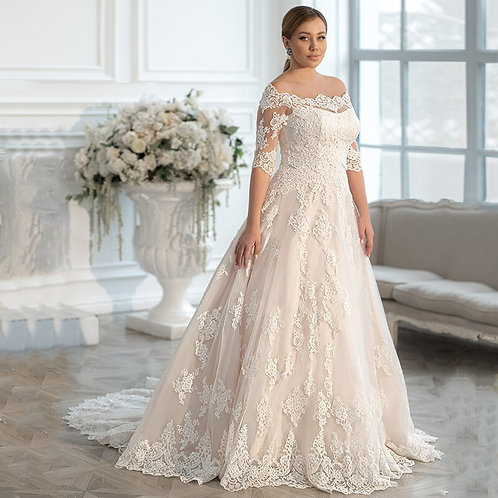 Off the Shoulder Lace Adorned A-Line Ball Plus Size Gown