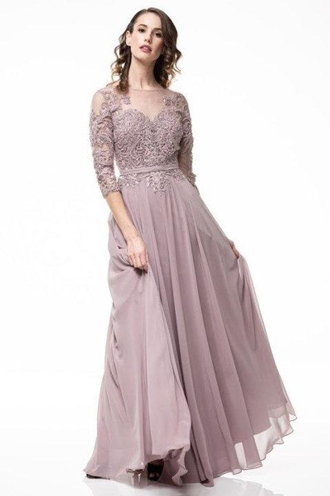 Illusion Lace Embellished Long Chiffon Mother of the Bride Dress Dress