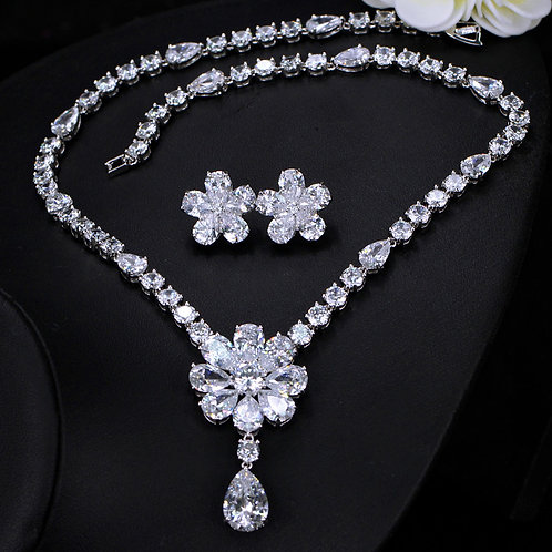 Daisy Flower Tear Drop Cubic Bridal Jewelry Set