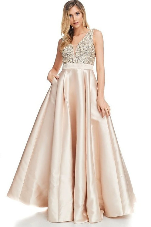 Sequins & Pearl Beaded Combination Bodice Mother of the Bride Dress