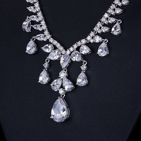 Chandelier Tear Drop Cubic Crystal Bridal Set