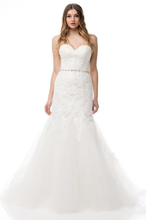 Sexy Strapless Sweetheart Lace Wedding Gown