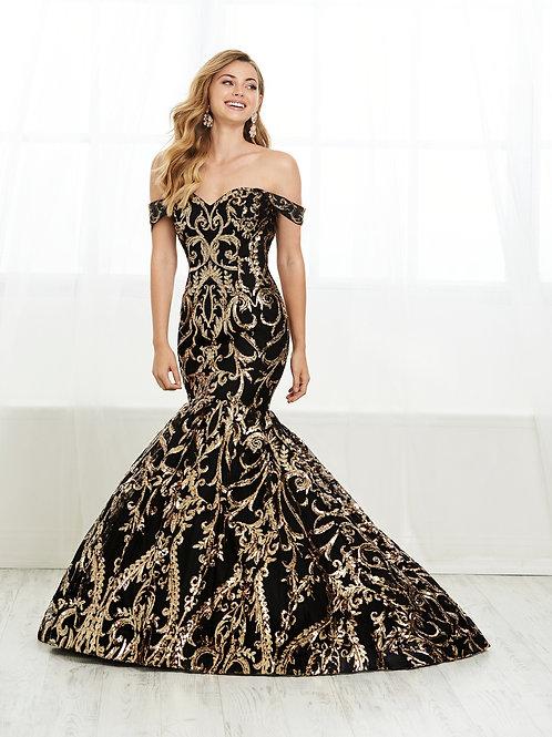 16394 Tiffany - Off the Shoulder Brocade Print Trumpet Prom Dress