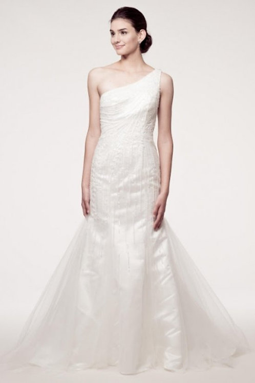 Single Shoulder Sequins Beaded Trumpet Fitted Gown