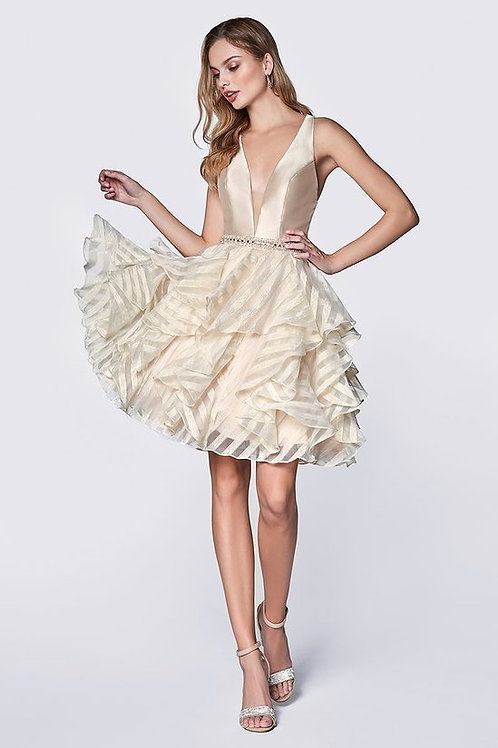 V-Plung Neckline Solid Organza Strip Short Prom Dress