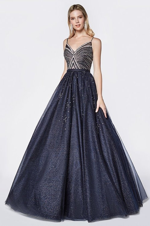 Spaghetti Strap w. Beaded Sequins Bodice Prom Dress