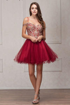 Shoulder Beaded Lace Shoulder Strap Short Prom Dress