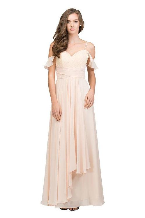 Strap Off the Shoulder Long Chiffon Bridesmaid Dress