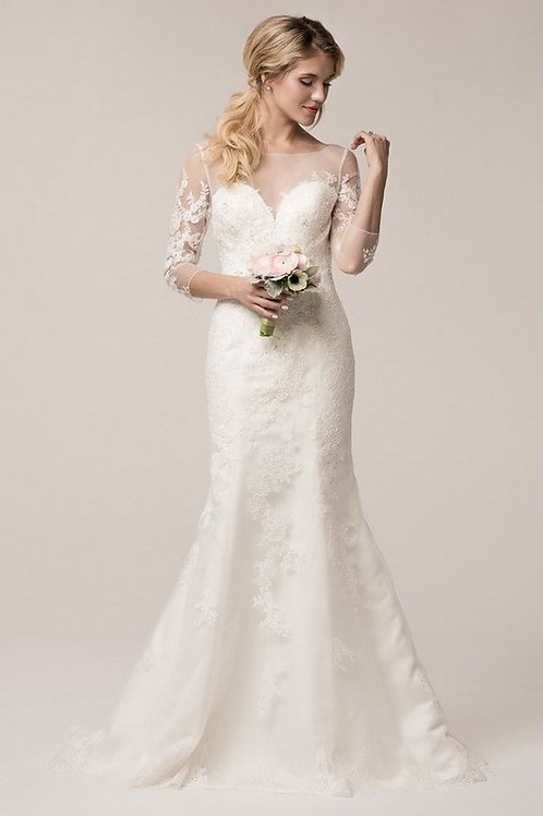 Sheer Illusion Top Long Lace Sleeve Wedding Gown