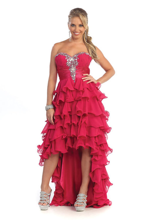 Crystal Accented Ruched Ruffled High Low Prom Dress