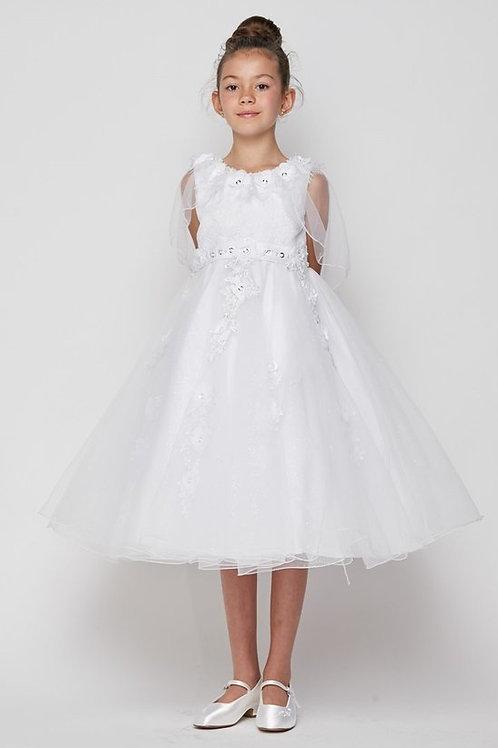 Rhinestone & Flower Embellished Communion Dress by Cinderella