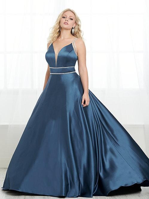 16450 Tiffany - Sheer Rhinestone Strap Deep V-Neck Prom Dress