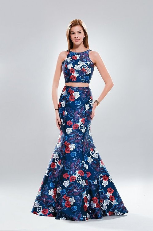 Large Floral Print Cut-Out Mermaid Evening Gown