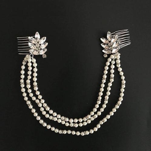 Rhinestone Pearl String Designed  Bridal Hair Comb  -1pc