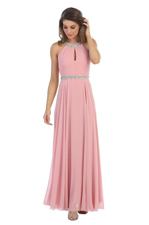 Sequins Halter Neckline Chiffon Bridesmaids Dress