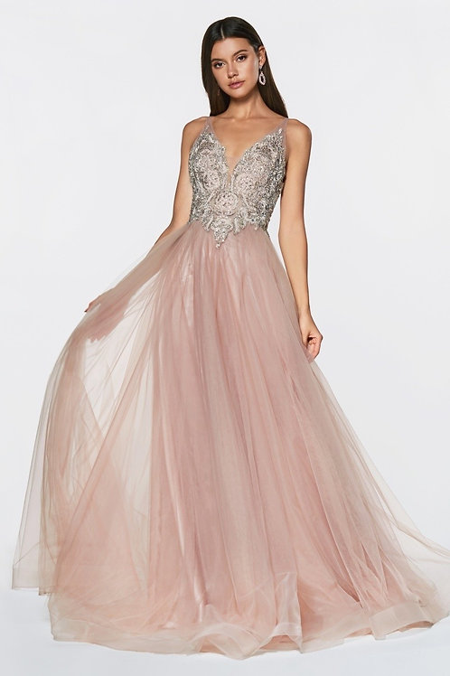 A-Line Lace & Tulle Embellished Ball Prom Dress