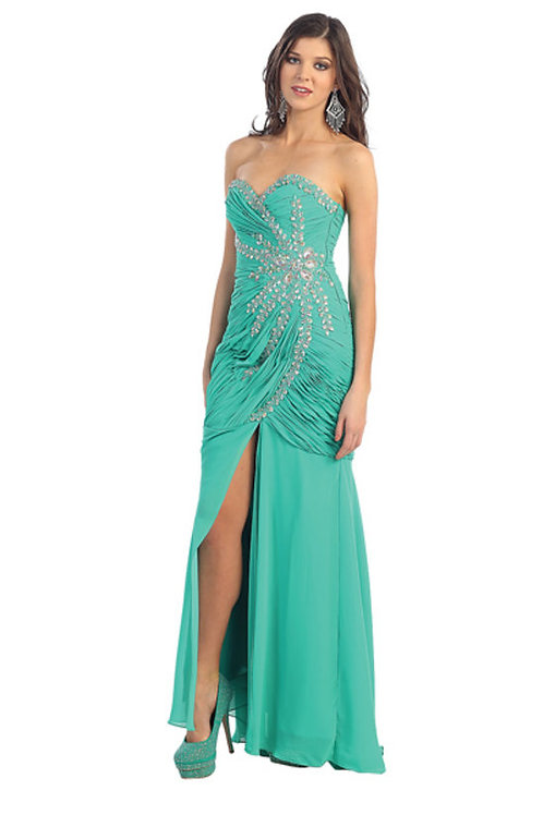 Crystal Dazzle Sweetheart Ruched Prom Dress