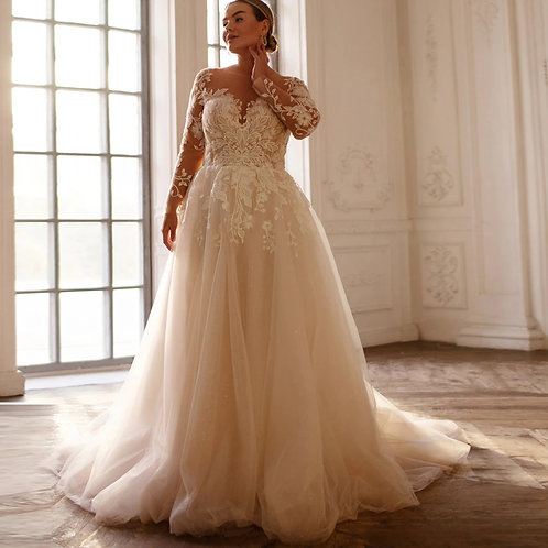 3D Embroidery Lace Long Sleeve Sweetheart Plus Size Gown