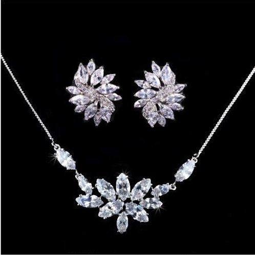 Cubic Crystal Floral Diamond Shape Bridal Jewelry Set