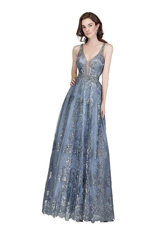 V-Neckline Sheer Lace Fit & Flare Prom Dress