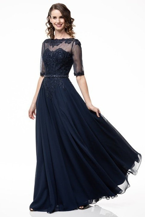 Illusion Embroidery Accented Chiffon Mother of the Bride Dress Dress