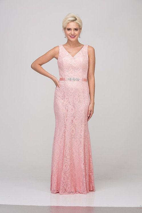 V-Neck All Over Lace Mermaid Bridesmaids Dress