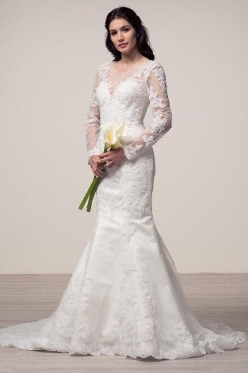 Long Illusion Sleeve Sweetheart Mermaid Wedding Gown