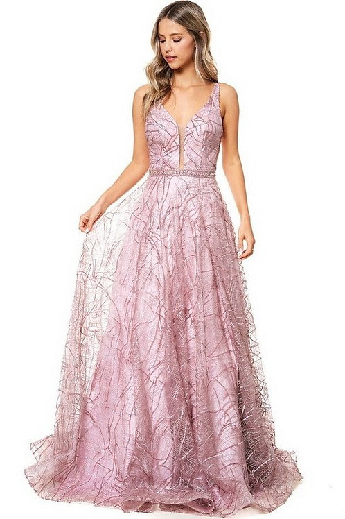 Sleeveless Deep Plunged Neckline A-Line Ball Gown