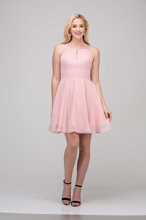 Halter Strap Key Hole Short Chiffon Bridesmaid Dress