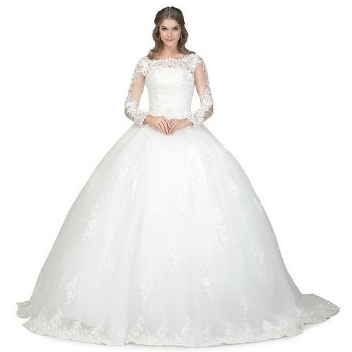Wide Neckline Long Illusion Lace Wedding Ball Gown