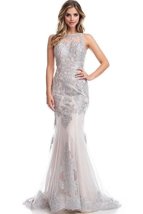 High Scoop Jewel Neckline Illusion Top Mother of Bride Dress