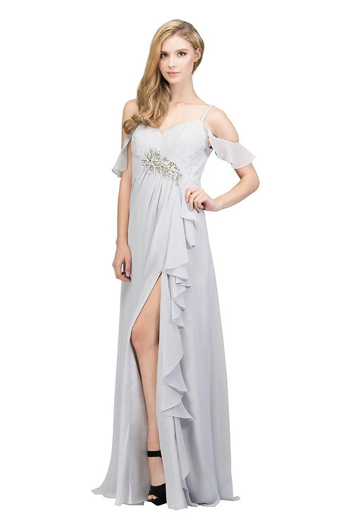 Sexy Draped Pleated Chiffon Bridesmaid Dress w. Spaghetti Straps